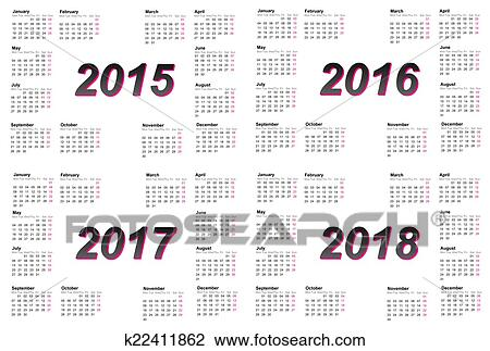 Clip Art of Set of european 2015, 2016, 2017 and 2018 year calendars