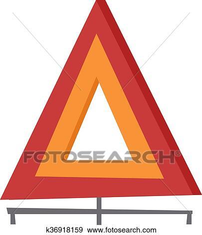 Clip Art of Emergency warning triangle vector illustration