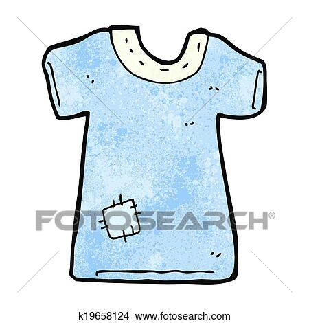 Cartoon patched old tee shirt Clipart