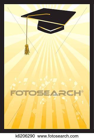 Graduación, mortero, tarjeta, en, amarillo, spotlight Clipart k6206290