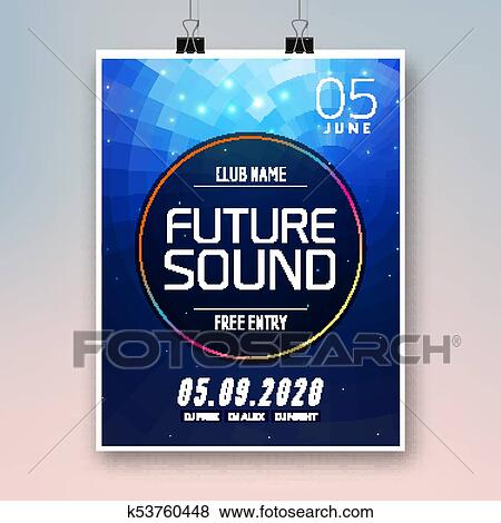 Clip Art of Future sound music party template, dance party flyer