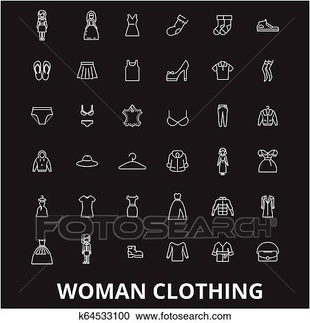 Clipart of Woman clothing editable line icons vector set on black