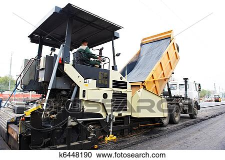 Stock Photography of tracked asphalt paver k6448190 - Search Stock - asphalting machine