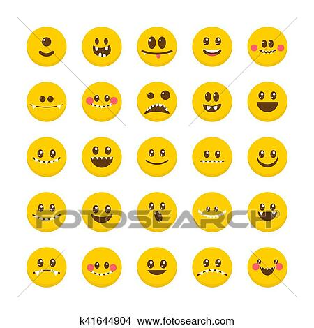 Clipart of Cartoon faces with emotions Set of cute monsters