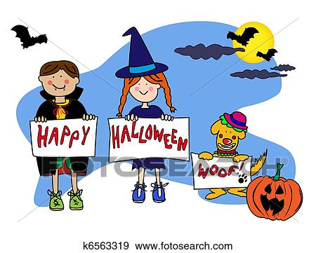 Stock Illustration of Kids and dog halloween card k6563319 - Search