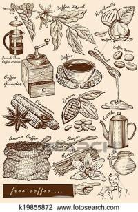 Clipart of Hand drawn cafe items k19855872 - Search Clip ...