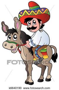 Clipart - mexikanisch, reiten, esel k6640190 - Suche Clip ...