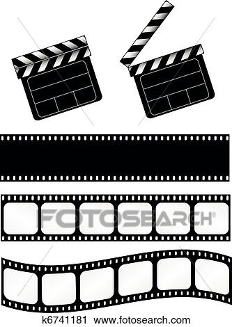 Clipart of Movie clapper with film strips k6741181 - Search Clip Art