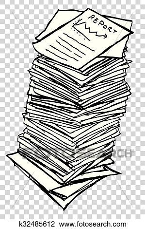 Clipart of Stack of Reports k32485612 - Search Clip Art