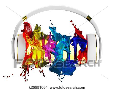 Drawings of explosion of color paint from the headphones blasted