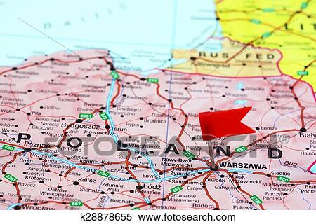 Stock Image of Warsaw pinned on a map of europe k28878655 - Search