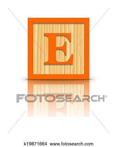 Clipart of Vector letter E wooden block k19871664 - Search Clip Art