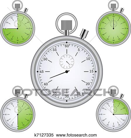 Clipart of Stopwatch set with 15 min interval timers k7127335