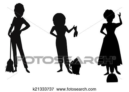 Picture of cleaning ladies in silhoette k21333737 - Search Stock