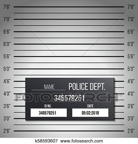 Clip Art of Creative vector illustration of police lineup, mugshot