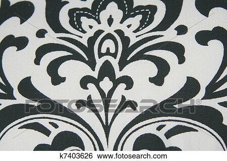 Stock Illustration of Black Damask Pattern k7403626 - Search Clip