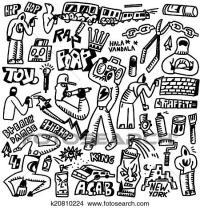Clipart of rap,hip hop ,graffiti - doodles set k20810224 ...
