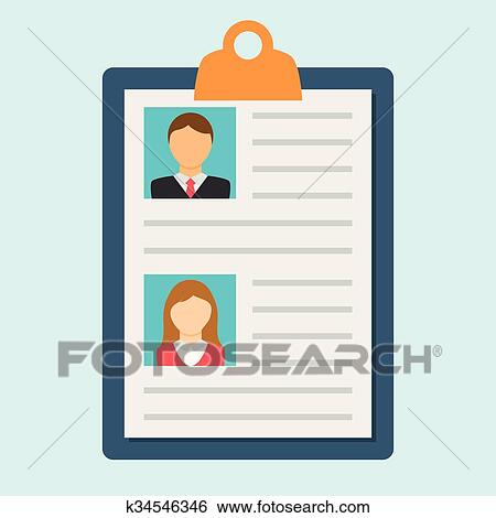 Clip Art of Resume of the man and women k34546346 - Search Clipart