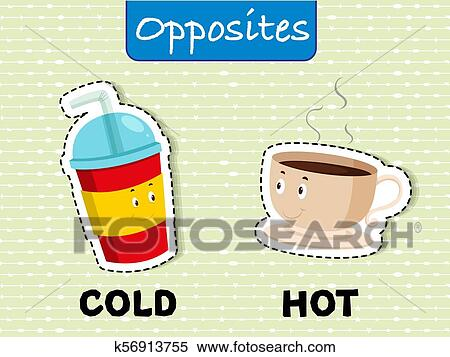 Clipart of English Opposite Word on Green Background k56913755