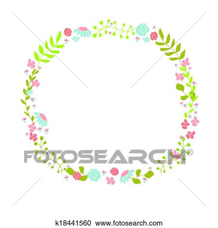 Clipart of Cute floral wreath Design for birthday card or easter
