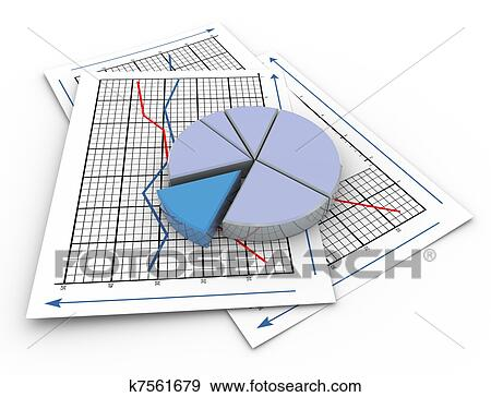 Stock Illustration of 3d pie chart on graph paper k7561679 - Search - 3d graph paper