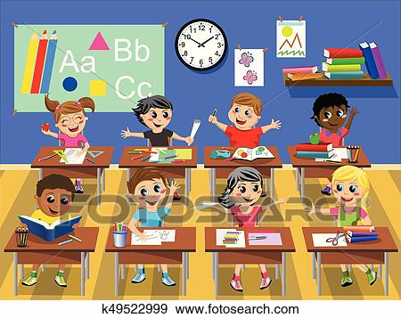 Clip Art Of Happy Kids Children Sitting Desk Classroom