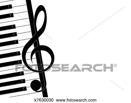 Stock Illustrations of treble clef and piano k7630030 - Search