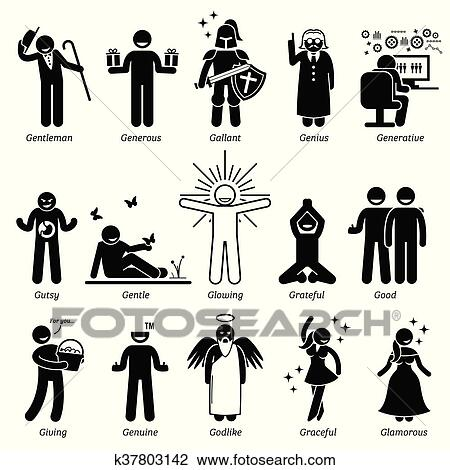 Clipart of Positive Character Traits k37803142 - Search Clip Art