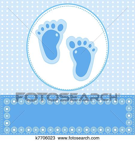 Drawing of Baby boy greeting card with foot steps k7706023 - Search