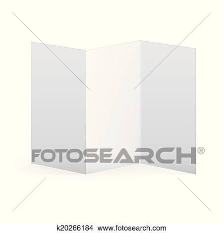 Clipart of Blank vector white tri fold brochure template k20266184