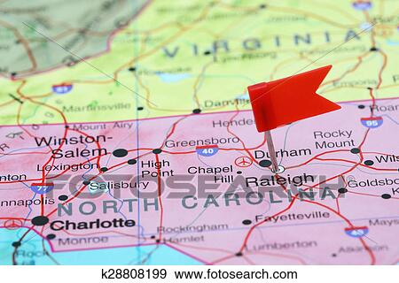 Stock Photograph of Raleigh pinned on a map of USA k28808199