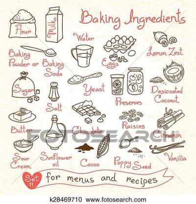 Clipart of Set drawings of baking ingredients for design menus, recipes. k28469710 - Search Clip ...
