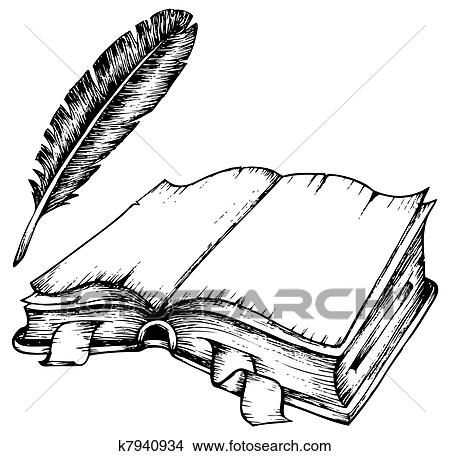 Clipart of Drawing of opened book with feather k7940934 - Search - opened book