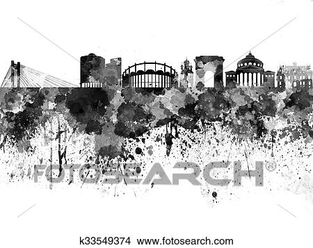 Drawings of Bucharest skyline in black watercolor on white