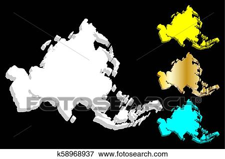 3D map of Asia continent Clip Art k58968937