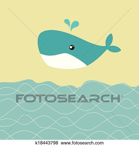 Clip Art of Baby boy shower card with cute whale k18443798 - Search
