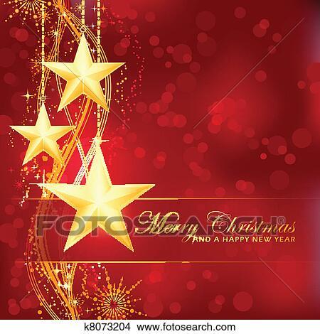 Clipart of Golden Merry Christmas stars on red bokeh background