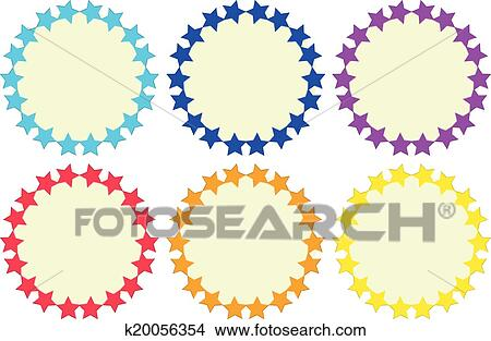 Clipart of Colourful round empty templates made of stars k20056354