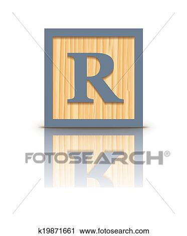 Clipart of Vector letter R wooden block k19871661 - Search Clip Art