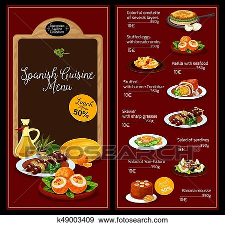 Clip Art of Vector lunch menu template for Spanish cuisine k49003409