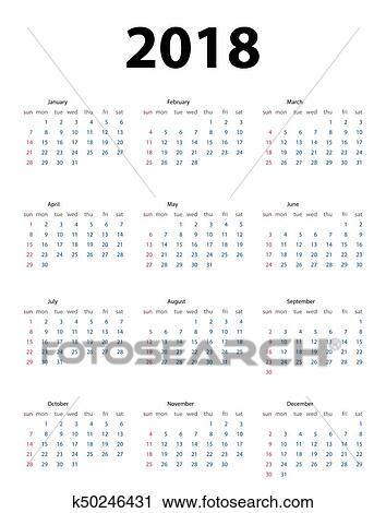 Clipart - naptár, 2018, hét, felriaszt, alapján, sunday, vektor