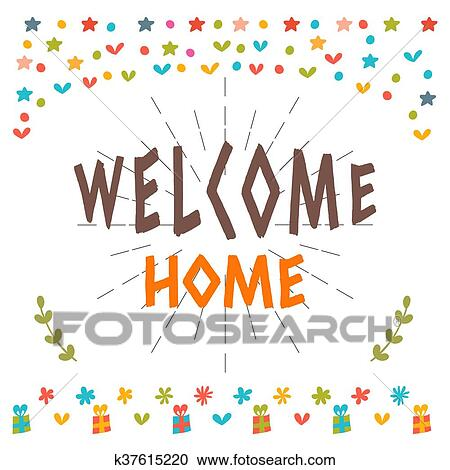 Clipart of Welcome home text with colorful design elements Greeting