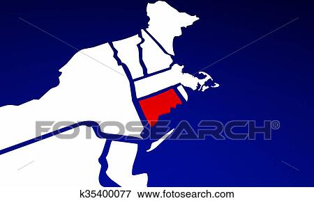 Stock Illustration of Connecticut CT State United States of America