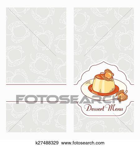 Clip Art of Dessert menu template design for cafe Creme caramel on