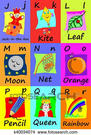Alphabet flash cards J-R Naive illustrations Drawings k40034074