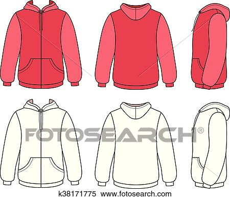 Clipart of Unisex hoodie template k38171775 - Search Clip Art