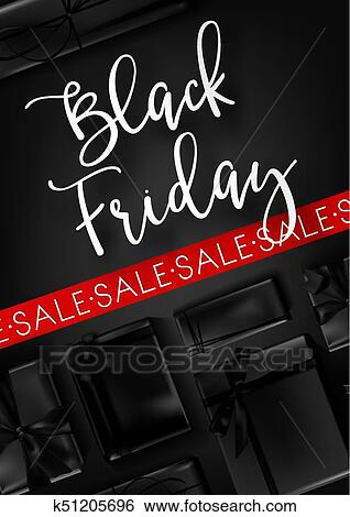 Clip Art of Black Friday sale poster template for discount promo