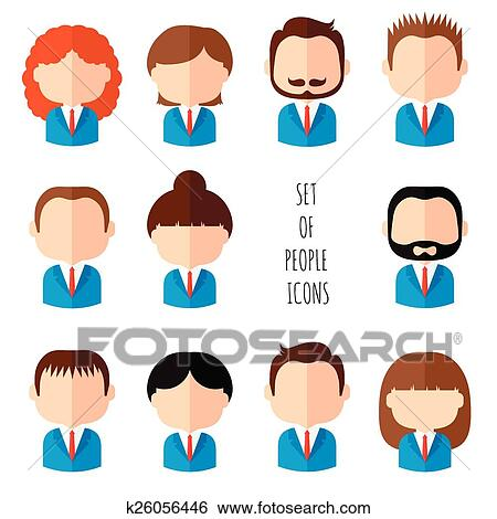 Clip Art of Set of colorful office people icons Businessman