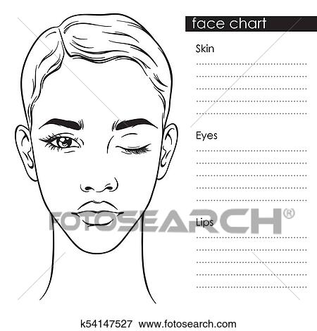 Clip Art of Beautiful woman with short haircut Face chart Template - eye chart template