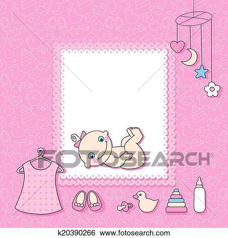 Clip Art of Sweet baby girl announcement card style cartoon